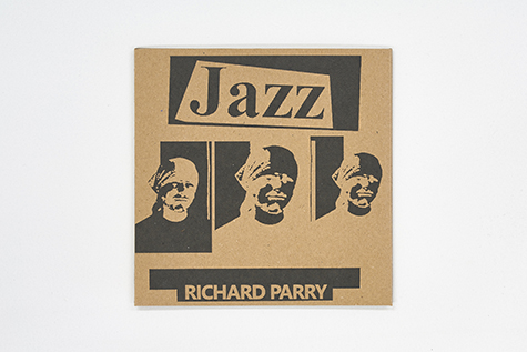 Photograph of Richard Parry's Jazz EP, with a brown cardboard sleeve reading 'Richard Parry' and 'JAZZ' beneath an image of the artist