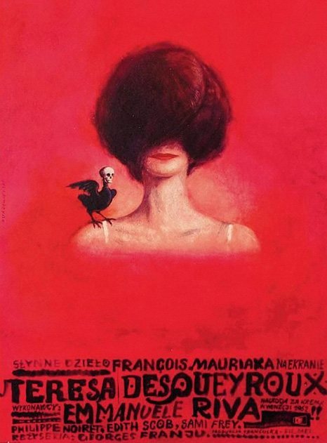 vintage film poster feturing the profile of a head on a red background